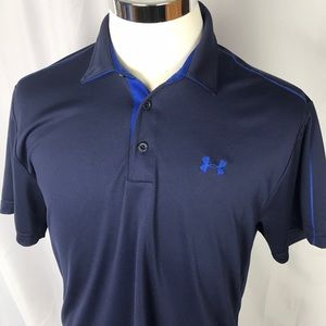 Under Armour loose heat gear large navy blue polo